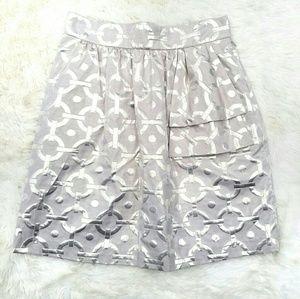 NEW Tibi jacquard skirt tan/ gold ruffle 6